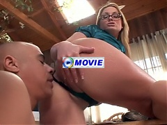 Busty blonde Flower Tucci seduces a foot lover and gets him to eat our her shaven pussy