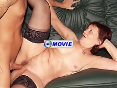Paula exposes her hairy mature snatch then gets a cock sliding in and out of it